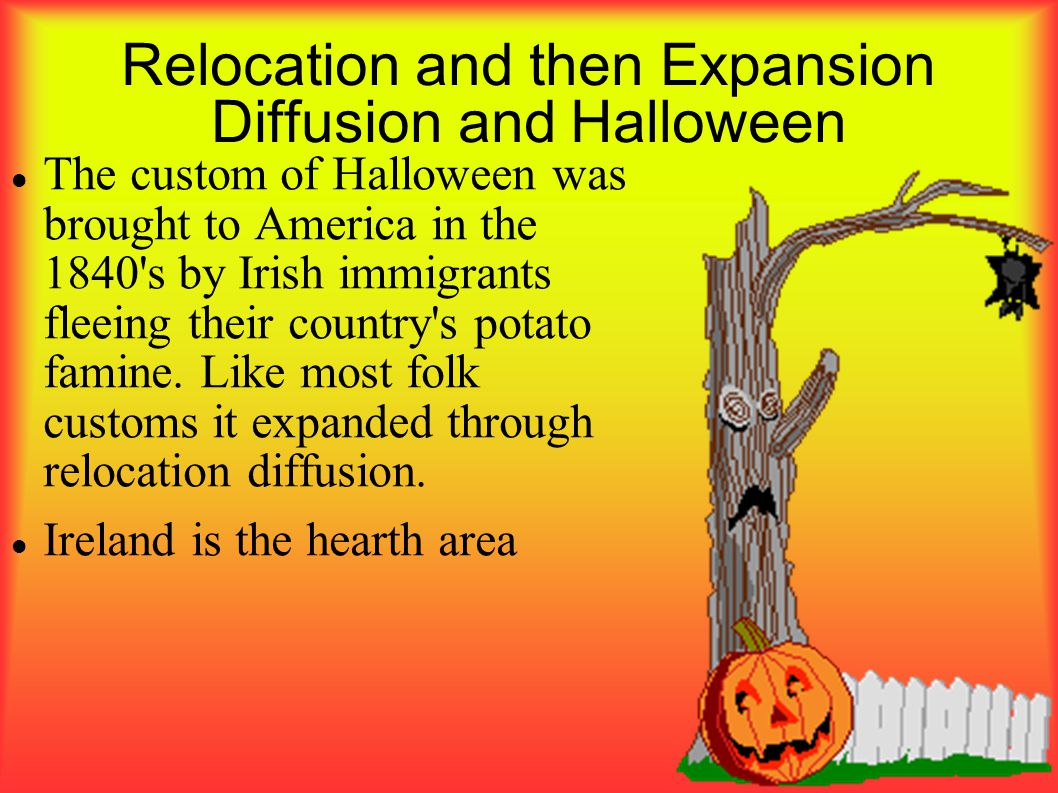 Relocation and then Expansion Diffusion and Halloween