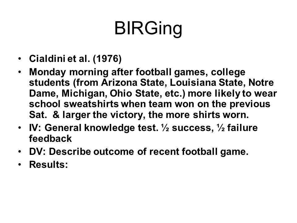 BIRGing Cialdini et al. (1976)