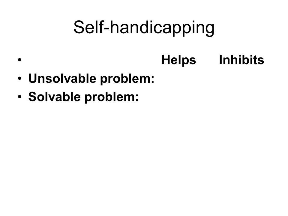 Self-handicapping Helps Inhibits Unsolvable problem: Solvable problem: