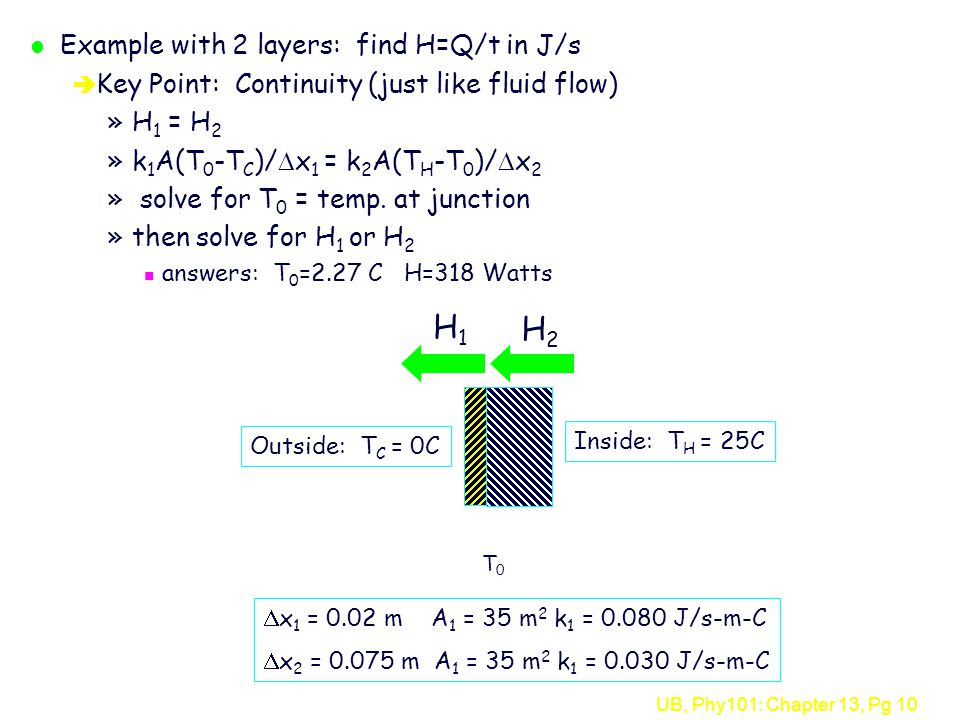 H1 H2 Example with 2 layers: find H=Q/t in J/s