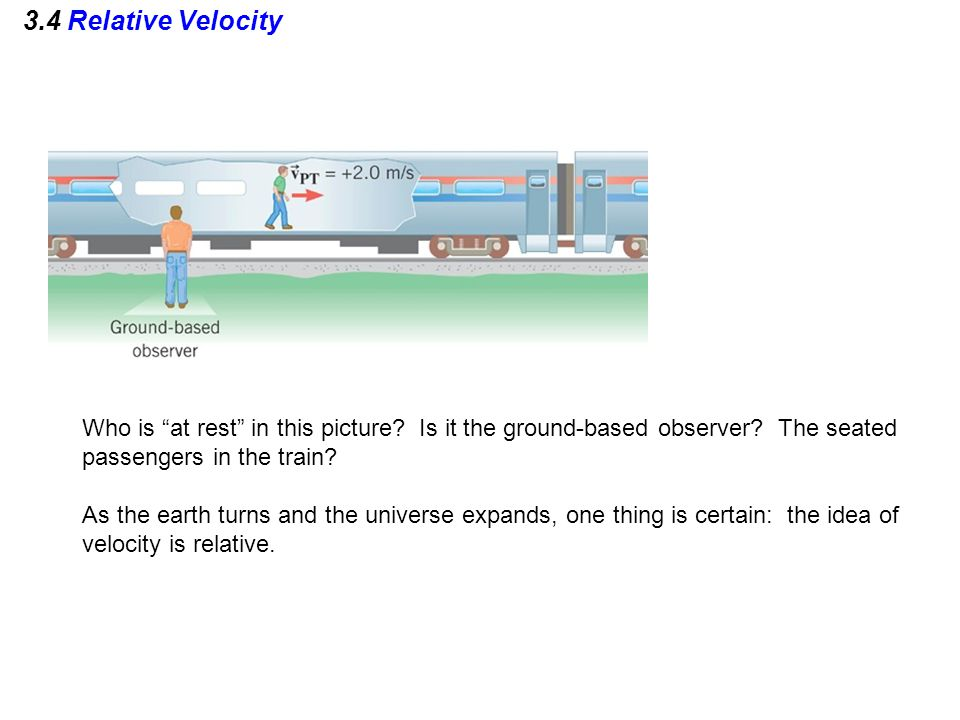 3.4 Relative Velocity Who is at rest in this picture Is it the ground-based observer The seated passengers in the train