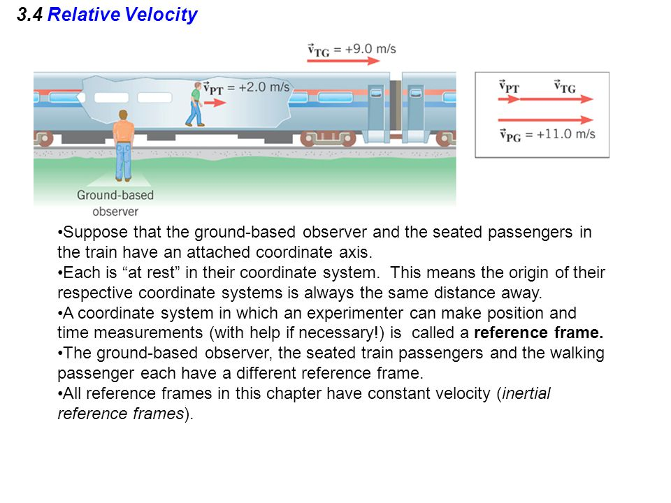 3.4 Relative Velocity Suppose that the ground-based observer and the seated passengers in the train have an attached coordinate axis.