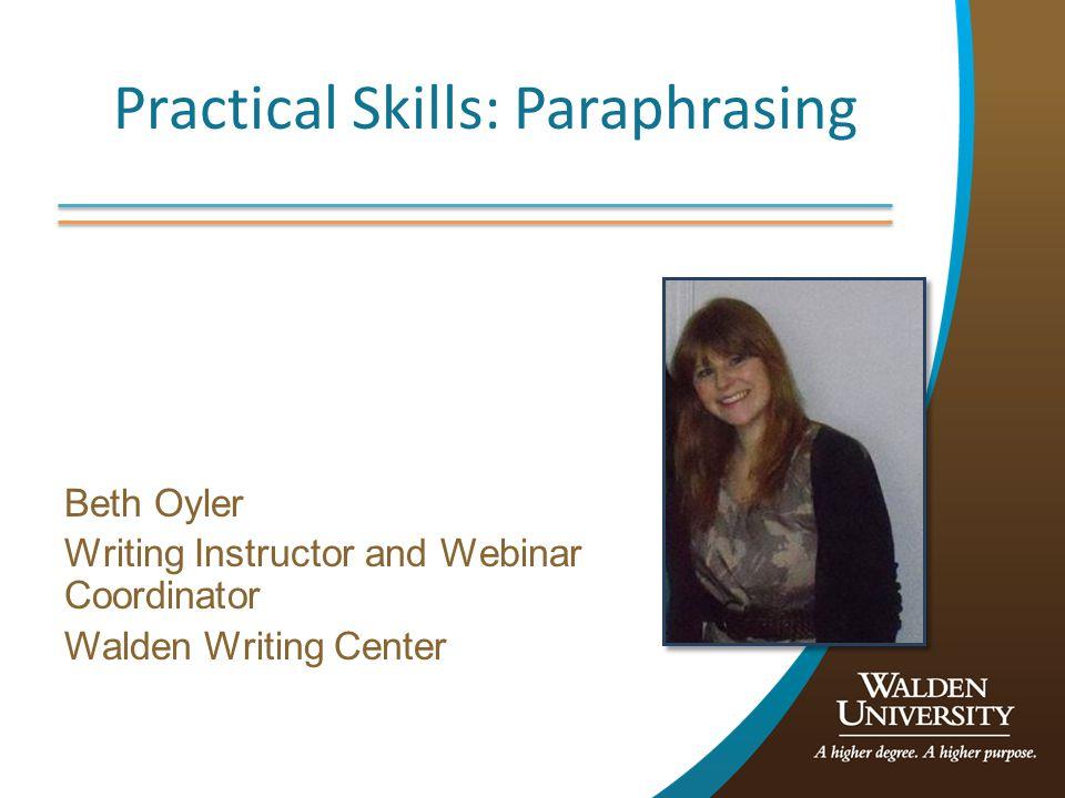 Practical Skills: Paraphrasing