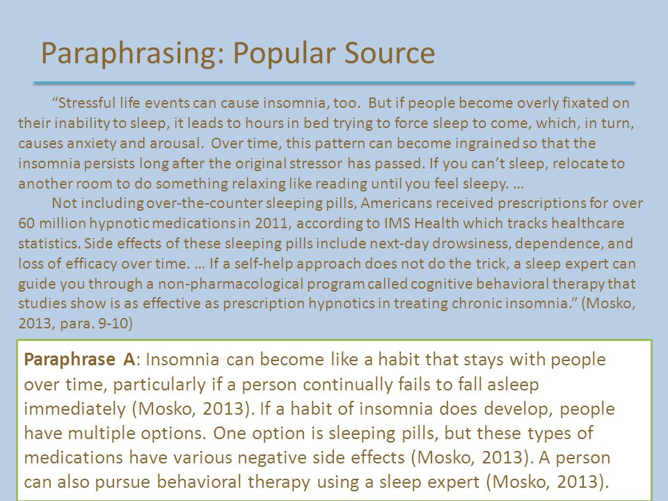 Paraphrasing: Popular Source