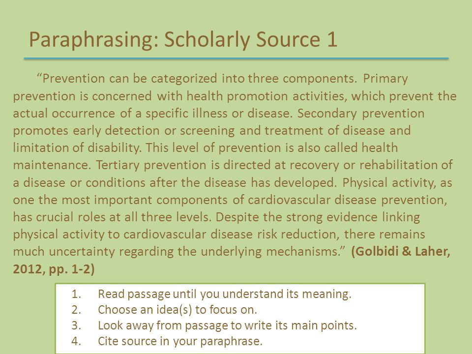 Paraphrasing: Scholarly Source 1