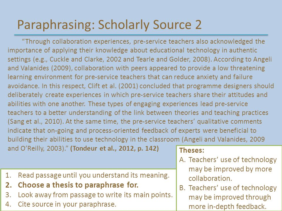 Paraphrasing: Scholarly Source 2