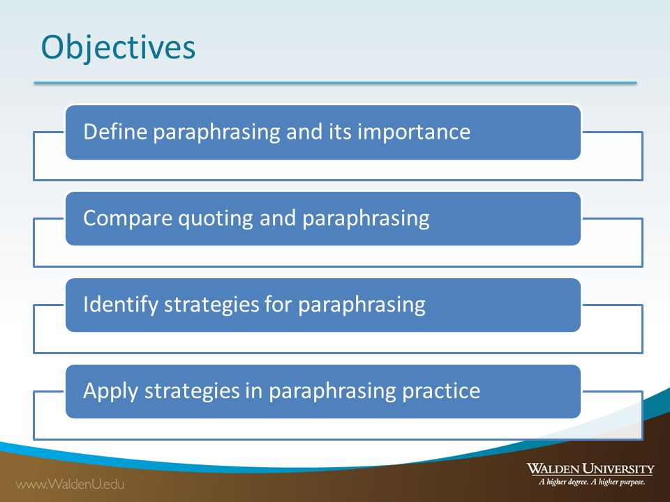 Objectives Define paraphrasing and its importance