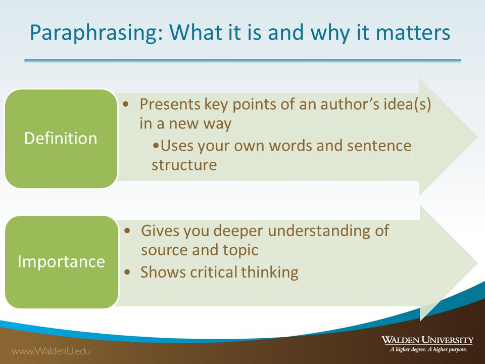 Paraphrasing: What it is and why it matters