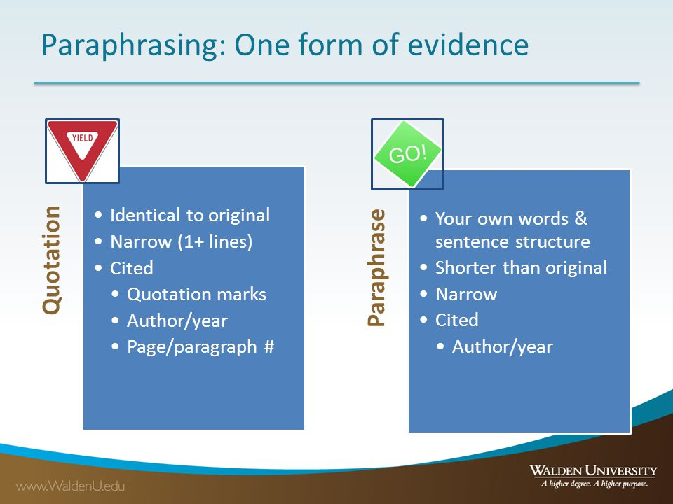 Paraphrasing: One form of evidence