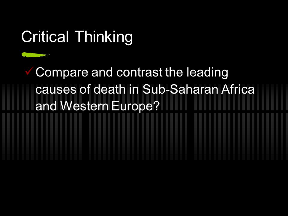 Critical Thinking Compare and contrast the leading causes of death in Sub-Saharan Africa and Western Europe