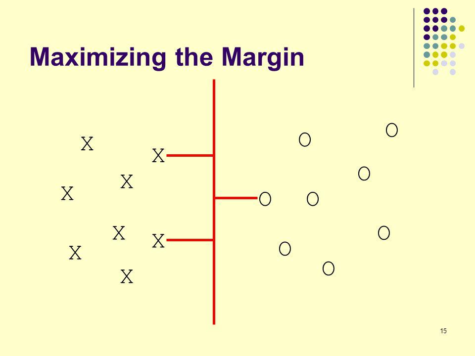 Maximizing the Margin O O X X O X X O O X O X O X O X