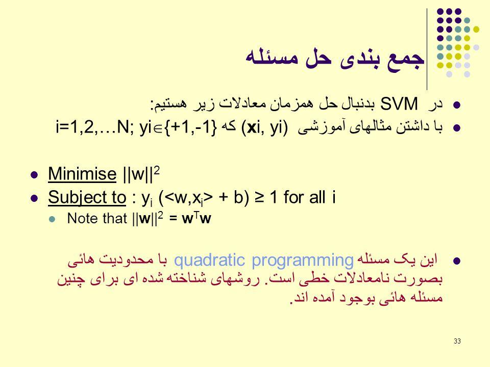 جمع بندی حل مسئله در SVM بدنبال حل همزمان معادلات زیر هستیم: