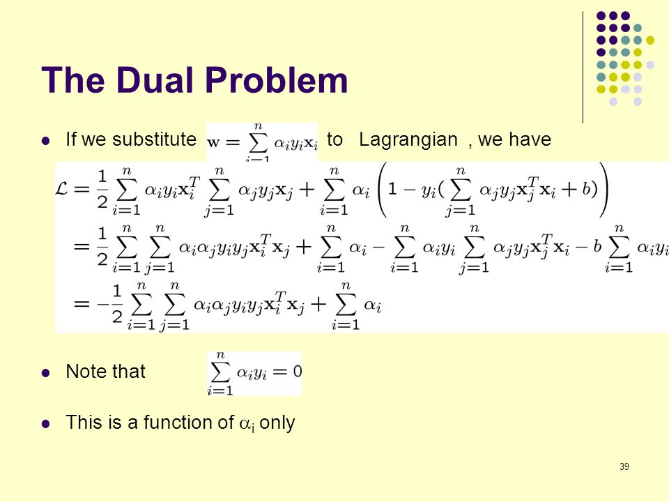 The Dual Problem If we substitute to Lagrangian , we have Note that