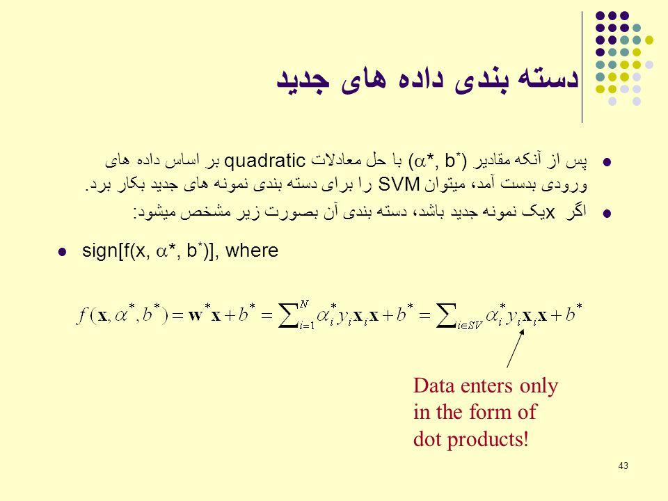 دسته بندی داده های جدید Data enters only in the form of dot products!