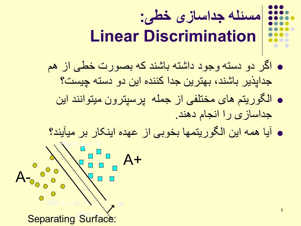 مسئله جداسازی خطی: Linear Discrimination