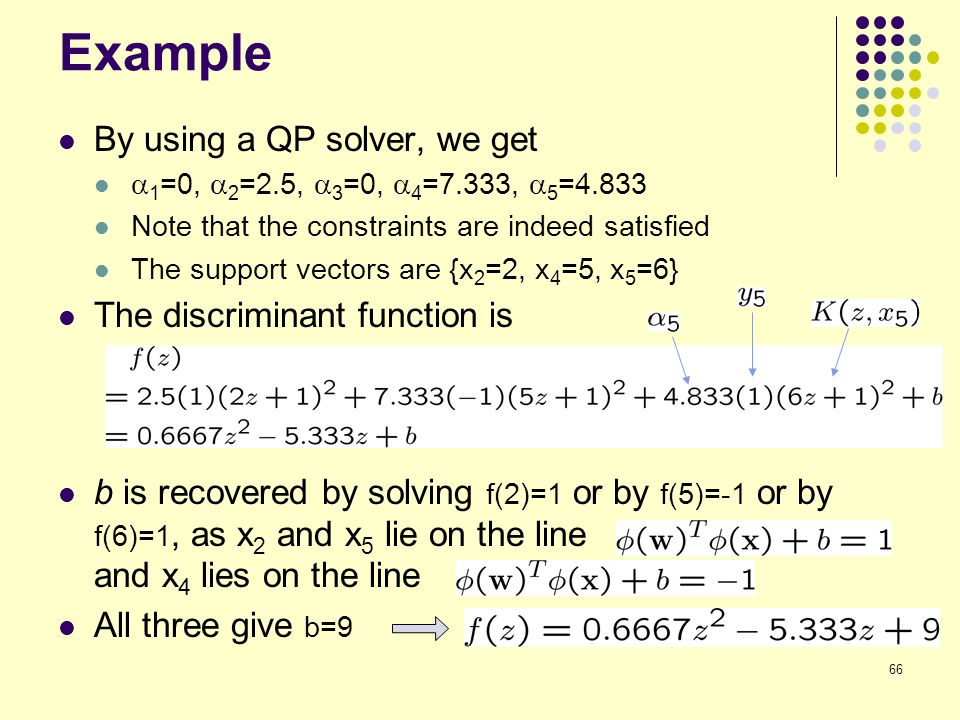 Example By using a QP solver, we get The discriminant function is