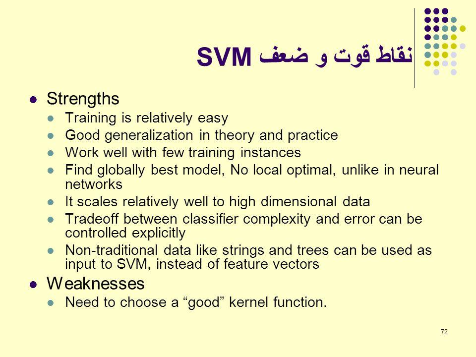 نقاط قوت و ضعف SVM Strengths Weaknesses Training is relatively easy