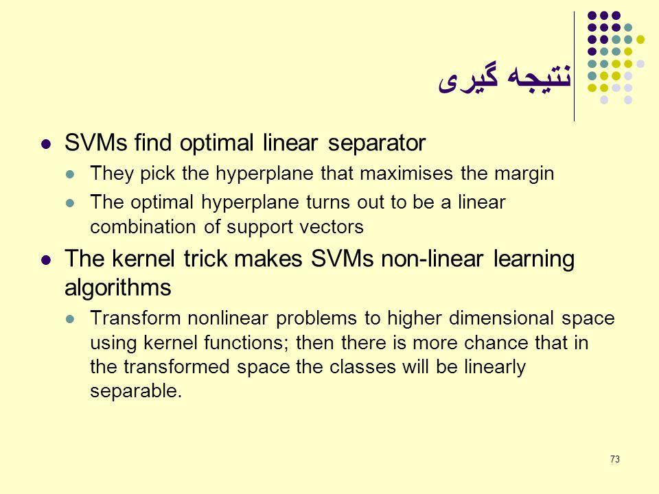 نتیجه گیری SVMs find optimal linear separator