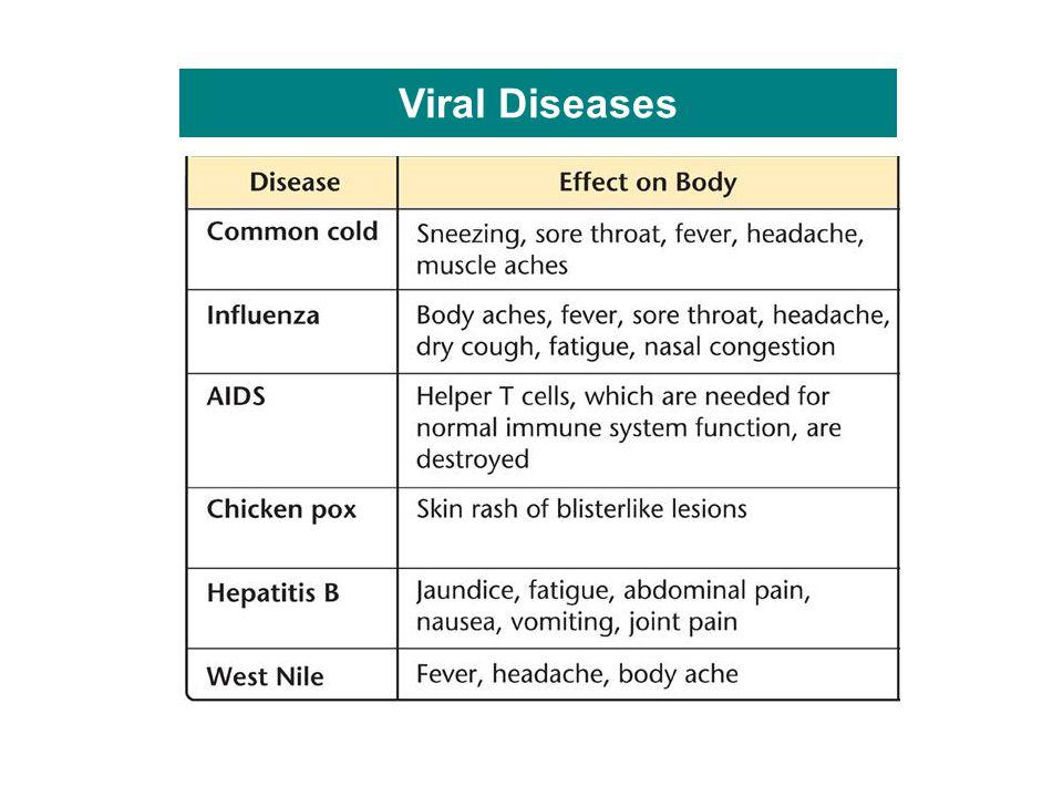 Viral Diseases Viruses cause disease in the body.
