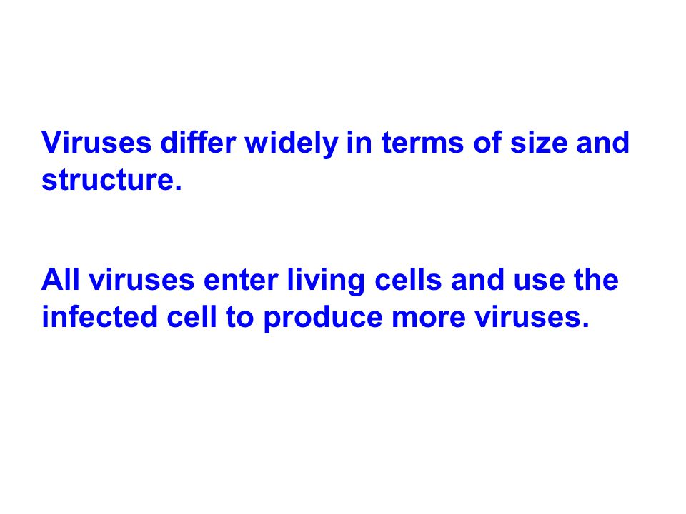 Viruses differ widely in terms of size and structure