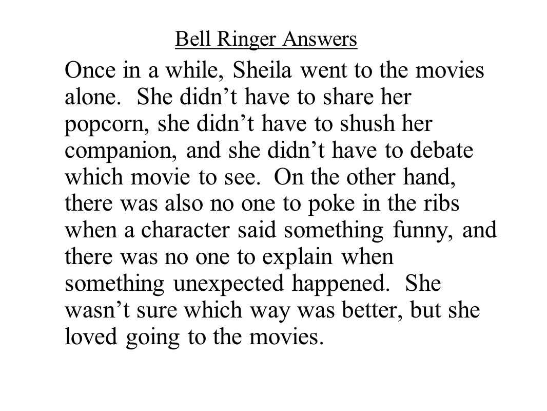 Bell Ringer Answers