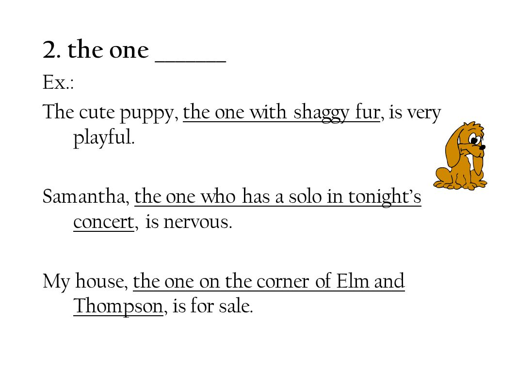 2. the one _______ Ex.: The cute puppy, the one with shaggy fur, is very playful.
