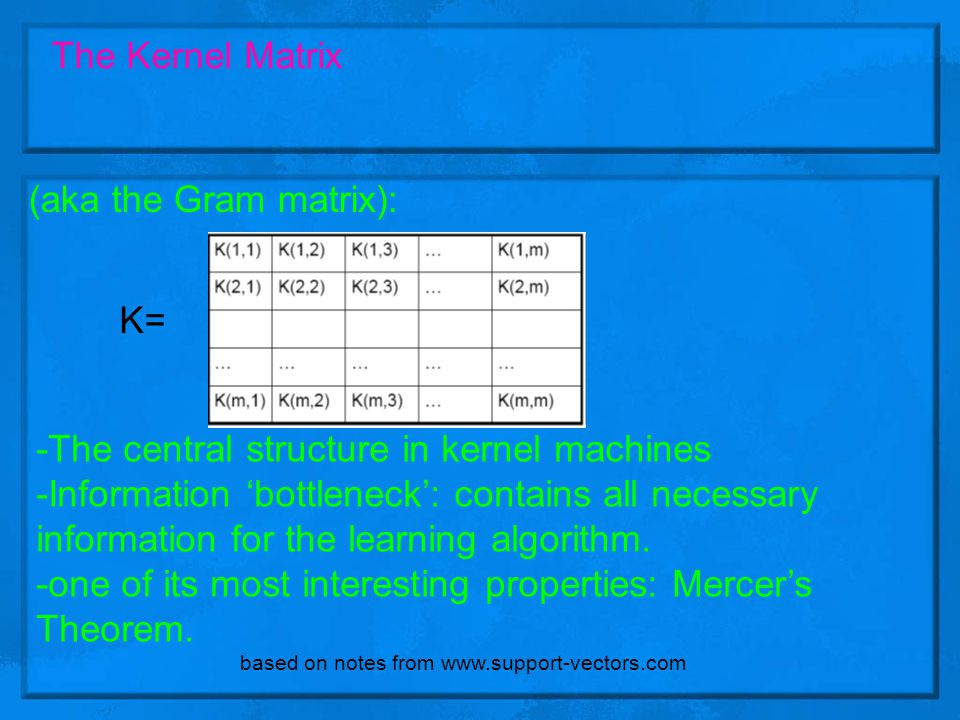 -The central structure in kernel machines