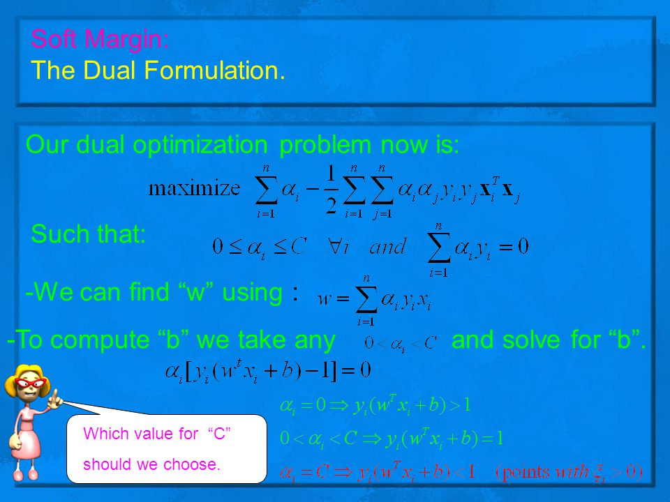 Our dual optimization problem now is: