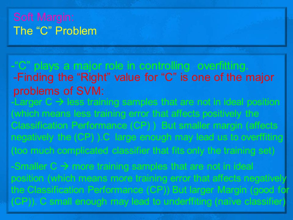 - C plays a major role in controlling overfitting.