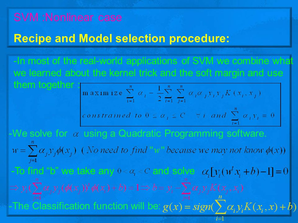 Recipe and Model selection procedure: