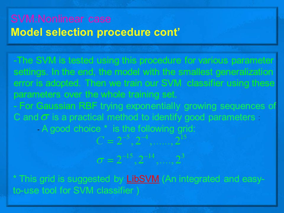 Model selection procedure cont'