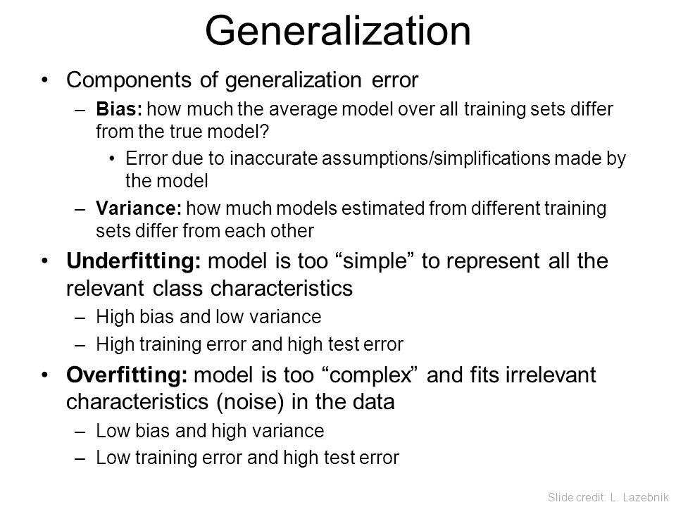 Generalization Components of generalization error