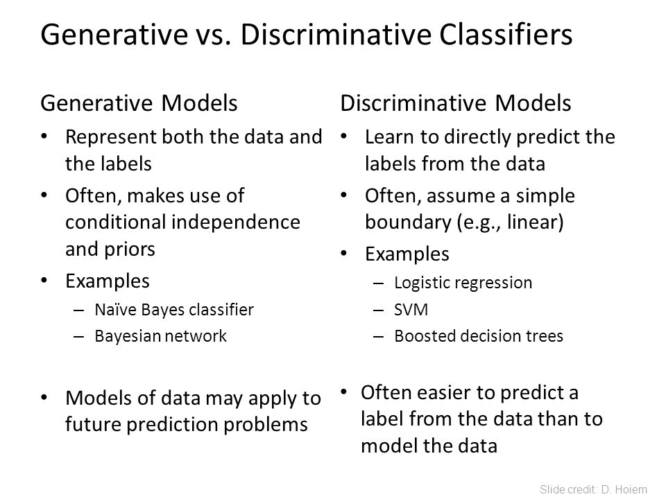 Generative vs. Discriminative Classifiers