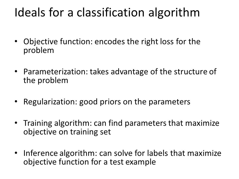 Ideals for a classification algorithm