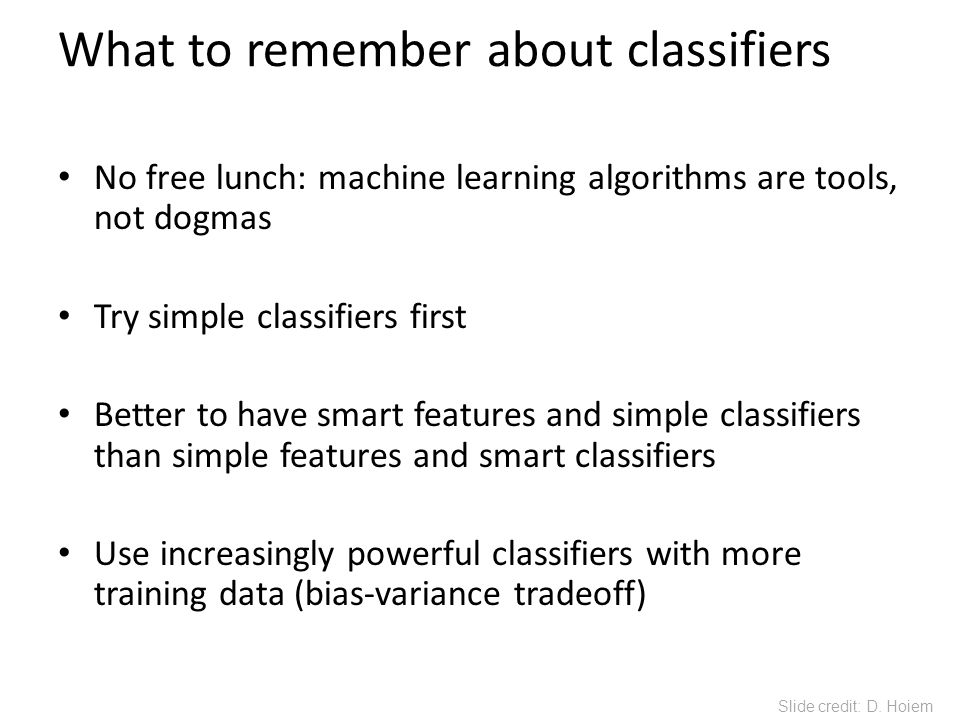 What to remember about classifiers