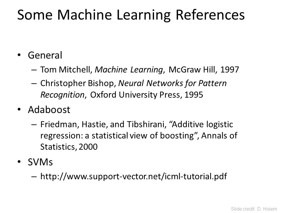 Some Machine Learning References