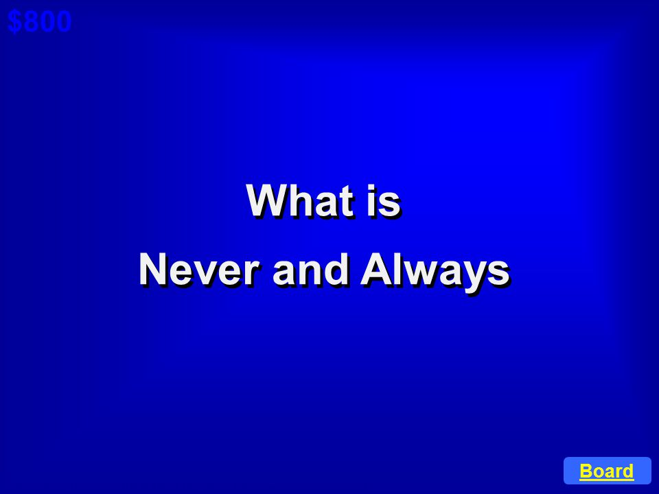 What is Never and Always
