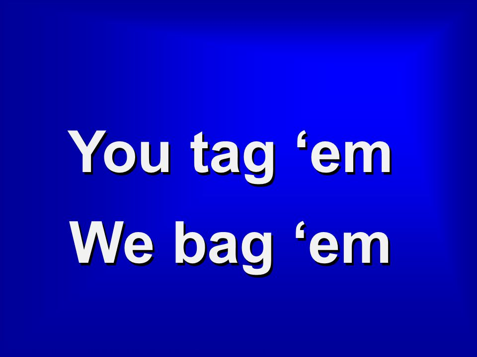 Category 1 You tag 'em We bag 'em