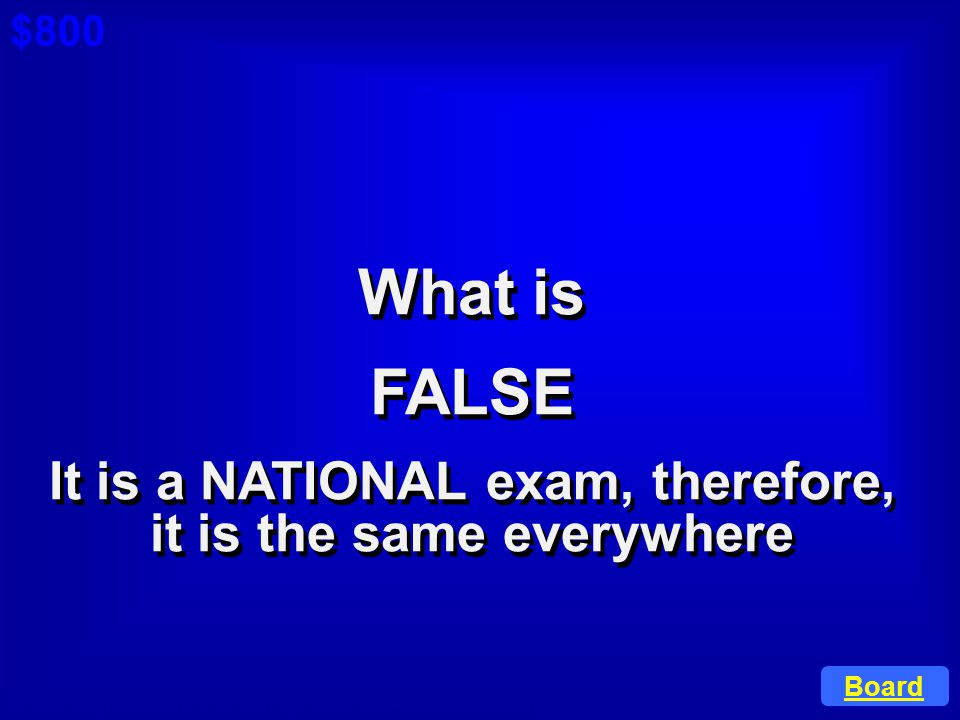 It is a NATIONAL exam, therefore, it is the same everywhere