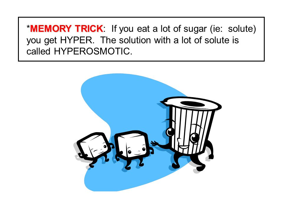 MEMORY TRICK: If you eat a lot of sugar (ie: solute) you get HYPER