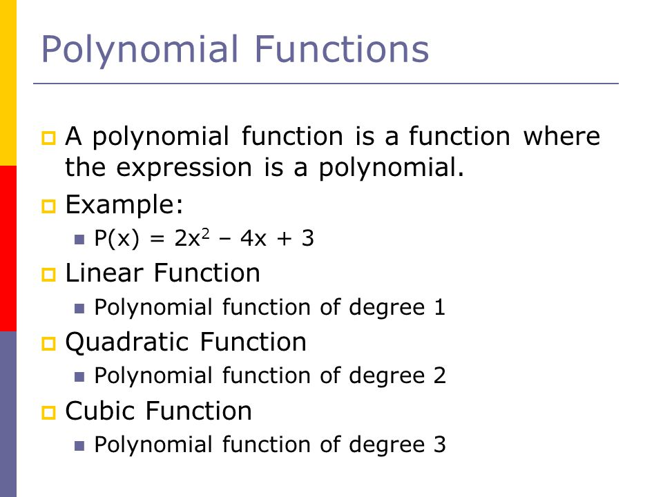 Polynomial Functions A polynomial function is a function where the expression is a polynomial. Example: