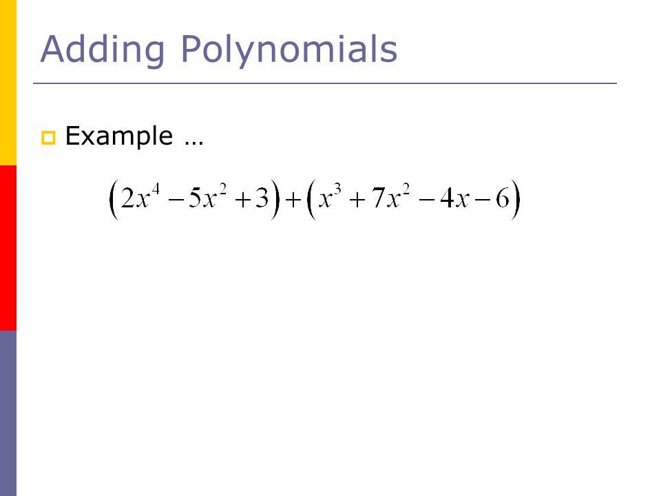 Adding Polynomials Example …