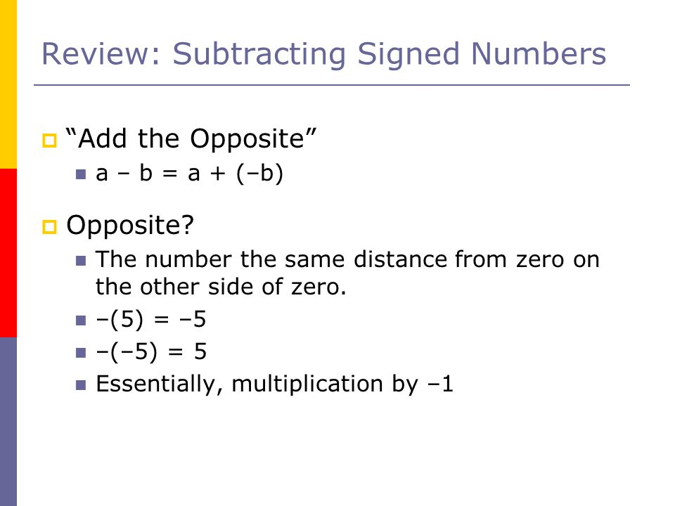 Review: Subtracting Signed Numbers