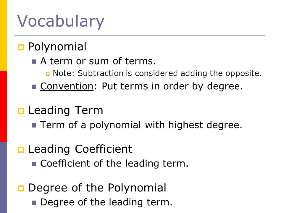 Vocabulary Polynomial Leading Term Leading Coefficient