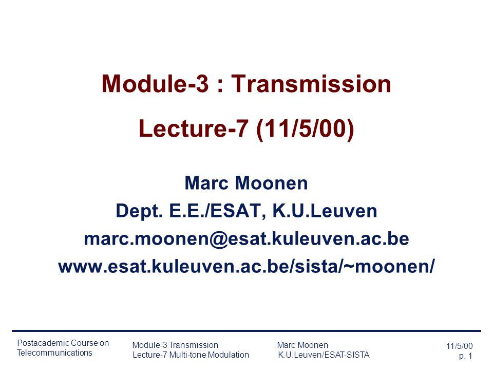 Module-3 : Transmission Lecture-7 (11/5/00)