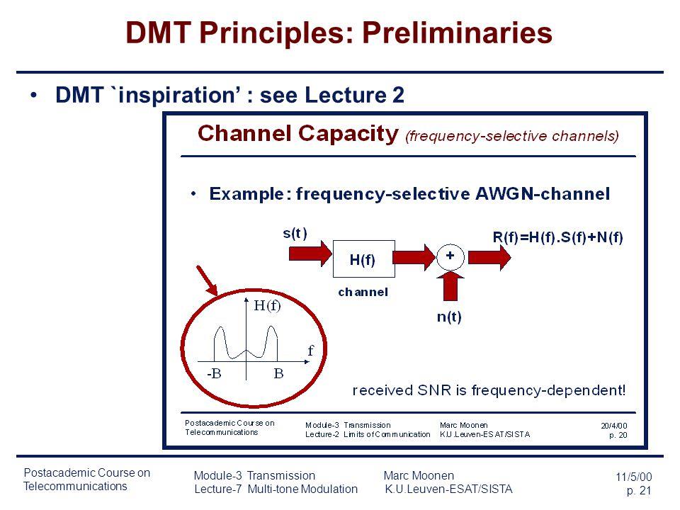 DMT Principles: Preliminaries