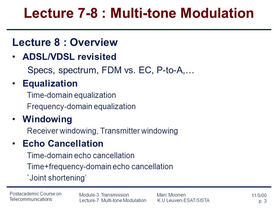 Lecture 7-8 : Multi-tone Modulation