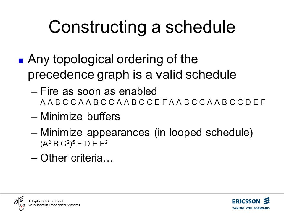 Constructing a schedule