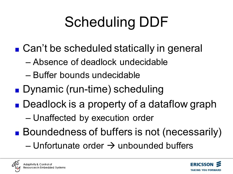 Scheduling DDF Can't be scheduled statically in general
