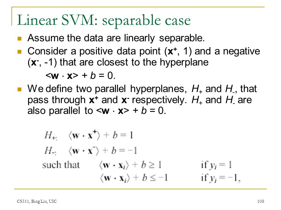 Linear SVM: separable case